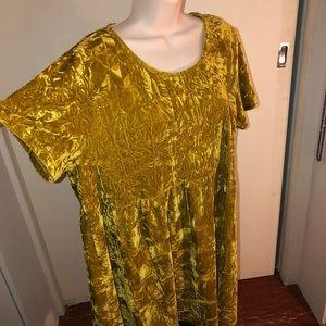 GOLD ⭐️ crushed velvet yellow baby doll dress
